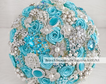 Brooch bouquet. Turquoise and silver wedding brooch bouquet, Jeweled Bouquet. Made upon request