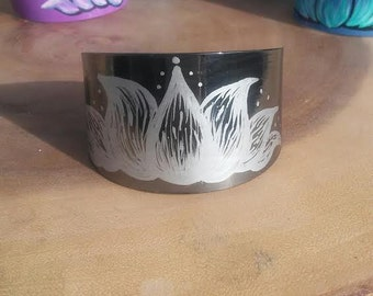 Gunmetal Iron Bracelet Cuff with Hand Painted Silver Lotus Flower