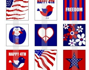"""Happy 4th of July - one 4x6 inch digital sheet of 1"""" square images for magnets, glass tiles, stickers etc."""