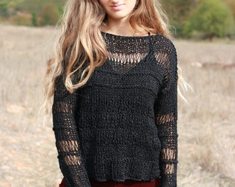 Black loose knit sweater, cotton sweater, grunge loose fitting black top, loose weave sweater, boho open knit sweater with thumb hole