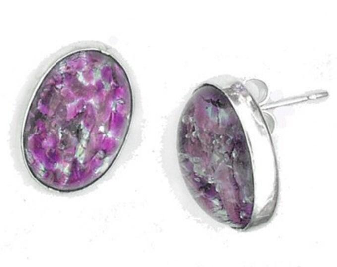 Large Oval Fired Purple Post Sterling Silver Earrings