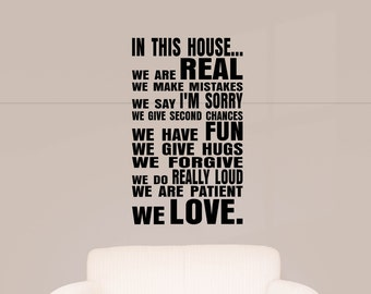 In This House... Wall Decal, Home Decor, Family Rules, Wall Decor, Vinyl Wall Art