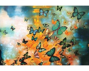 Lily Greenwood (Butterflies on Ochres & Greys) Art Print 50 x 100cm PPR41168