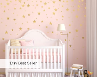Gold Stars Wall decals Set, Peel and Stick, Baby Nursery Wall Decor, Star Decals, Gold Wall Decals - WBSTRm