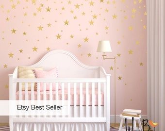 High Quality Gold Stars Wall Decals Set, Peel And Stick, Baby Nursery Wall Decor, Star