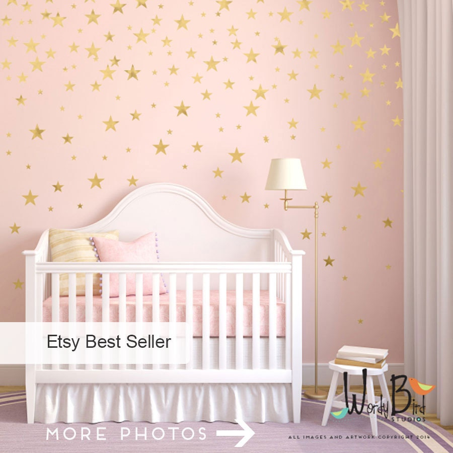 Nursery Wall Decor Gold Stars Wall Decals Set Peel And Stick Baby Nursery Wall