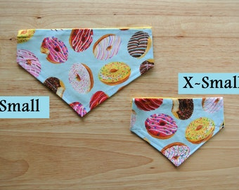 Delicious Donuts Reversible Slip-On the Collar Bandana for dogs and cats