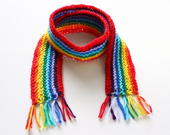 Red Rainbow Pixie Scarf - Rainbow Children's Scarf - Classic Winter Scarf for Kids - Children's Rainbow Scarves for Colourful Winter Walks!