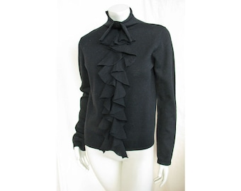 Vintage 1990s DKNY Sweater Black Wool with Funnel Neck & Ruffle Front