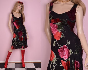 90s Deadstock Floral Print Burnout Dress/ US 6/ 1990s/ Tank/ Sleeveless