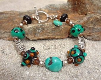 Lampwork Glass and Turquoise Gemstone Sterling Silver Beaded Toggle Bracelet - BURIED TREASURE