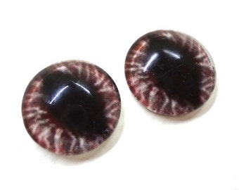 16mm Red Glass Dragon Eye Cabochons - Evil Eyes for Doll or Jewelry Making - Set of 2