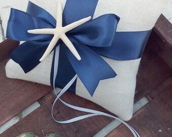 Nautical Ring Pillow - Ivory Burlap Ring Pillow - Starfish Ring Bearer Pillow - Wedding Pillow - Rustic Wedding Ring Pillow - Choose Color