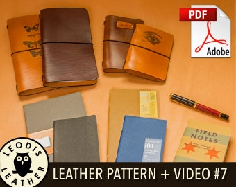 Build Along Leather Pattern 7: Midori Style Notebook Covers