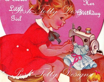 Little Girl and her Sewing Machine Vintage Digital Download Images (57)