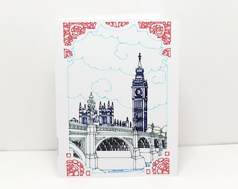 2 Handmade Small Notebooks with Big Ben Image, 20 Unlined Pages, 3x4 inch