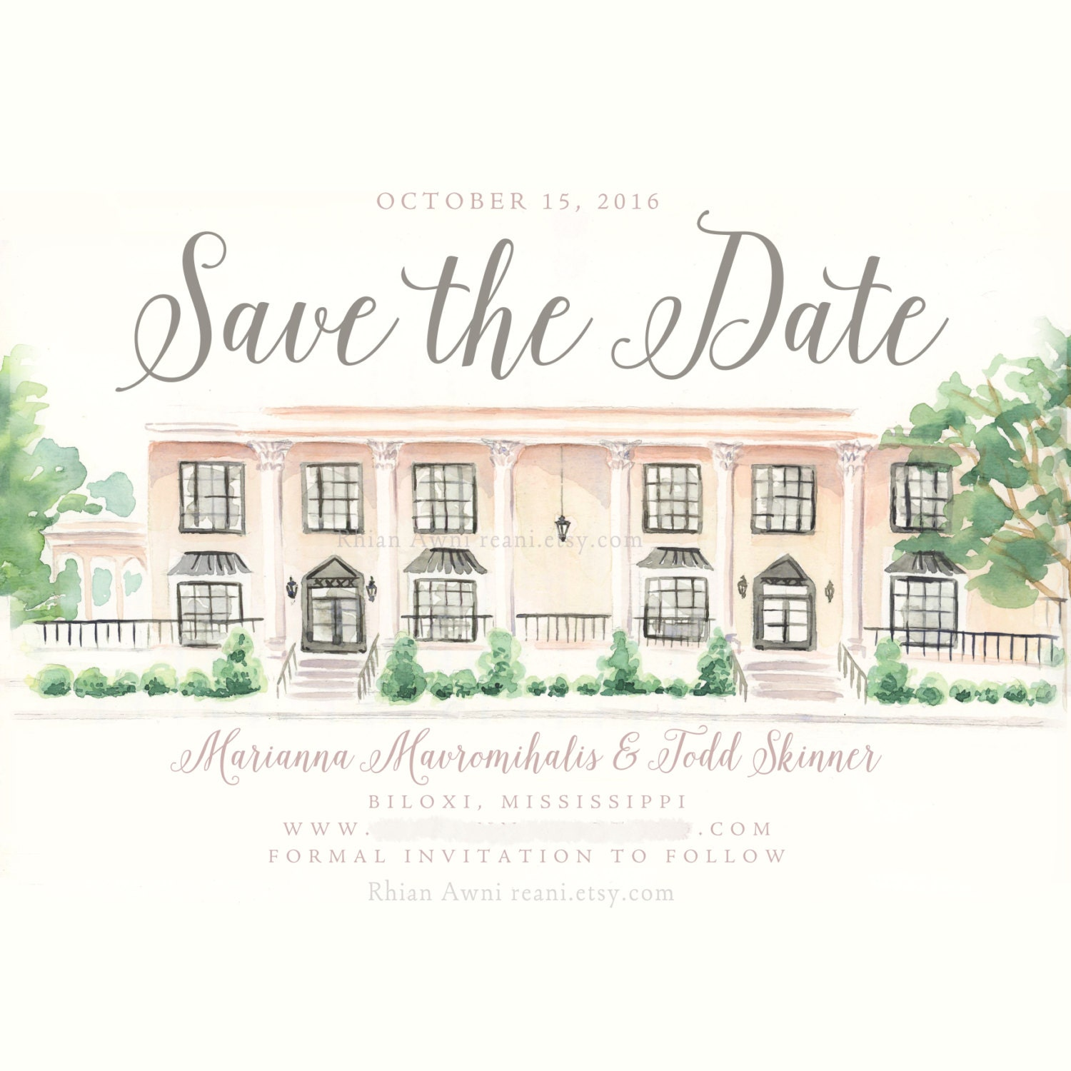 Watercolor Save the Date Card Custom Wedding Portrait