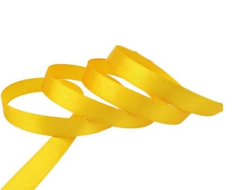 Yellow satin ribbon 12mm