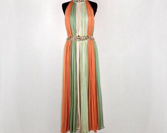 1980 abito lungo Vintage color rosa, verde chiaro e arancione