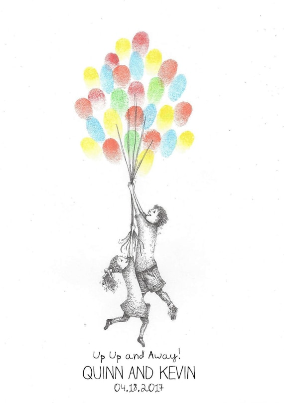 kids being lifted by balloons finger print guest book