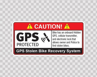 Decals sticker Gps Protected Prevention Sign waterproff durable 14070