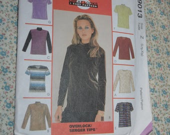 McCalls 9013  Misses Tops Sewing Pattern For Stretch Knits Only - UNCUT - Size Lrg -   Xlg