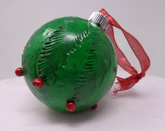Green Clay on Glass Ornament with Red Berries