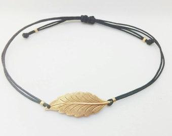 Leaf bracelet. Adjustable bracelet. Antique leaf bracelet. Boho bracelet.