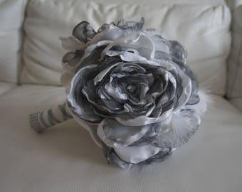 Bridal bouquet fabric grey peonies