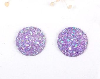 10 pcs Druzy Resin Embellishment Cabochons Purple Lavender - 12mm (1/2 in) - Dome Circle