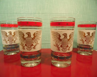 Vintage Patriotic Tumbler Glasses - Set Of 4 - American Eagle - 8 Ounce