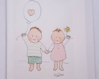 No. 123 Card for children Mother's Day card brother and sister card greetings card handmade card watercolour cards blank greetings card