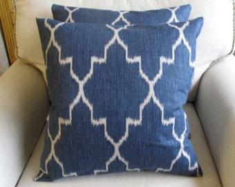 PAIR Pillow Covers Monaco Sapphire Blue Ikat 18x18 20x20 22x22 24x 24 26x26