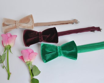 Bow Tie for Men. Velvet Bow Tie. Groom's Bow Tie. Wedding Bow Tie.