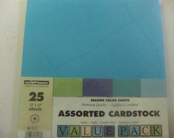 "CARDSTOCK SHEETS 12"" X 12"" - Set of 25 Sheets in Seaside Color Palet"