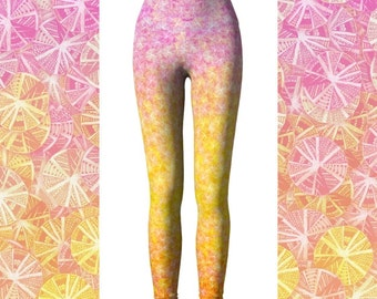 Citrus Ombre Yoga Leggings, Colorful Leggings, Funky Yoga Pants, High Waisted Leggings, Cute Yoga Pants, Women's Leggings, Pink Leggings
