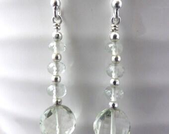 Green amethyst earrings, silver
