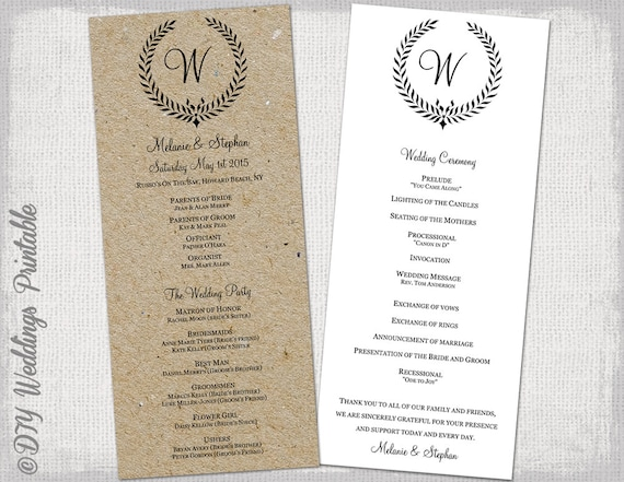 Wedding Program Template Rustic Black Leaf Garland