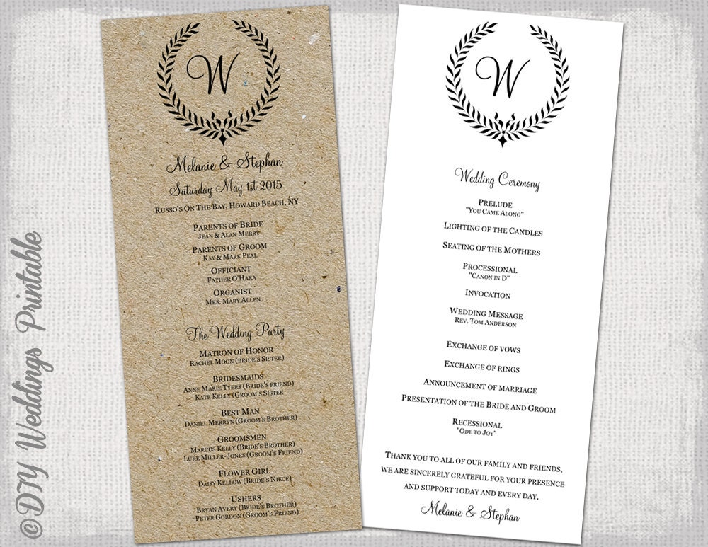 Wedding Program Template Rustic Black Leaf Garland - Free printable wedding program templates
