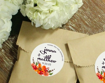 24 Paper Favor Bags - Fall Bouquet Label | Wedding Favor Bags | Bridal Shower Favor Bag | Kraft Favor Bag | Baby Shower Favor | Floral Label