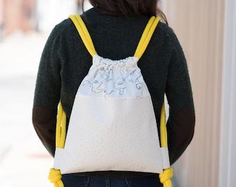 Vegan Leather Drawstring Backpack