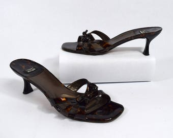 Stuart Weitzman Vintage 90s Tortoise Shell Patent Leather Heeled Sandals with Bow Size 7B Made in Spain