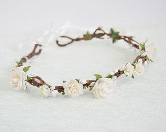 Rose Flower Crown, bridal flower crown, spring wedding, woodland wedding, flowergirl garland, floral crown, bridesmaid - Layla