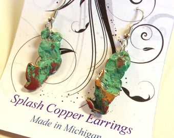 Splash Copper Earrings, Michigan, Oxidized Copper, Patina, Jewelry, Drop Earring, Copper Jewelry, Gift for Her, FREE SHIPPING