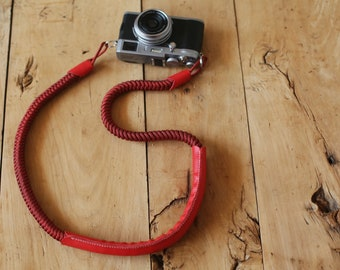 Winmup handmade Camera strap Red and black 16mm Hand knit Chinese knot add Red leather shoulder pad