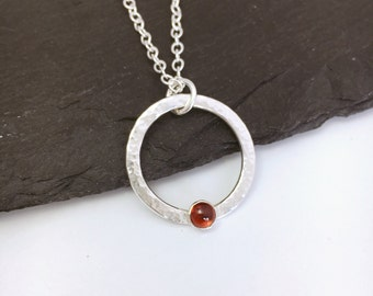 Garnet necklace, January birthstone necklace, garnet and sterling silver hammered circle, mothers day gift, birthday gift for her