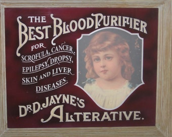 Vintage remake glass sign of Dr Jayne's Blood Purifier