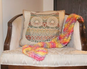 Rainbow hand knitted scarf