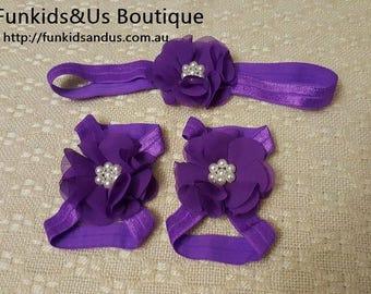Purple baby Barefoot sandals Set - Purple  Barefoot Sandals and headband- Newborn Shoe, toddler sandals