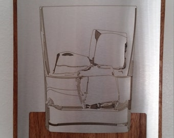 Whiskey Rocks Glass wood and metal wall hung or free standing